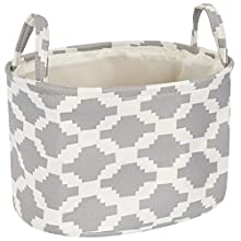 "Mintlyfe Storage Bin Basket for Organizing Baby Toys, Kids Toys, Baby Clothing, Gift Baskets - Foldable Canvas Fabric Storage Bin (Round, 14.5"" x 10.6"" x 9"")"