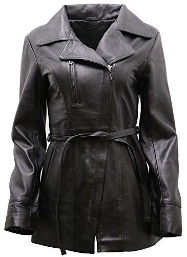 Leather Coat Ladies 3/4 - Women's Black Nappa Leather Long Biker Jacket with Belt 20