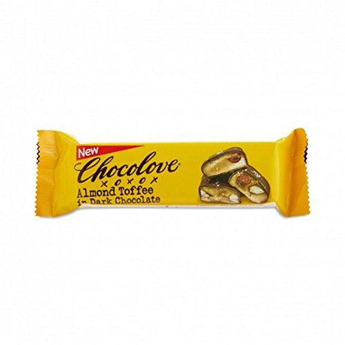 Toffee Choc - CHOCOLOVE XOXOX, BAR, ALM TOFFEE, DRK CHOC, Pack of 12, Size 1.41 OZ - No Artificial Ingredients Kosher