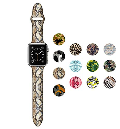 Dsigo Replacement Band for Apple Watch 38mm 40mm Series 4 Series 3 Series 2 Series 1 M/L, Strap Bands for iwatch, Silicone Sport Style Wristband, Personalized Design Snake Skin Texture