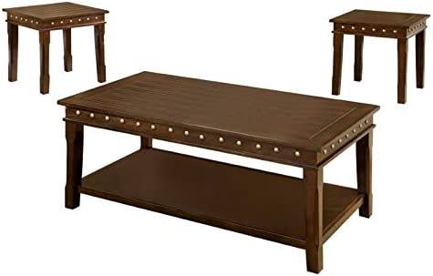 Furniture of America Harley Wood 3-Piece Coffee Table Set in Walnut