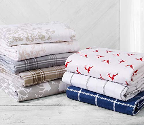 Great Bay Home Extra Soft Enchated Woods 100% Turkish Cotton Flannel Sheet Set. Warm, Cozy, Lightweight, Luxury Winter Bed Sheets. Belle Collection (King, Enchanted Woods) by Great Bay Home (Image #7)