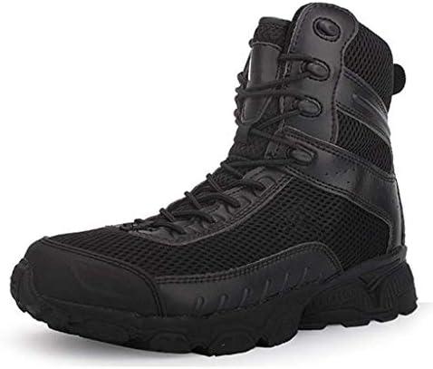 男性レースアップスタイル軍の戦術的なブーツラウンドヘッドレザーアッパーラバーソール耐久性のある高トラクショングリップ耐摩耗のための砂漠の戦闘ブーツ (色 : 黒, サイズ : 25 CM)