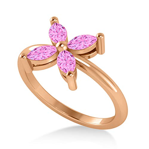 (Pink Sapphire Flower Marquise Ring 14k Rose Gold (0.80 ctw))