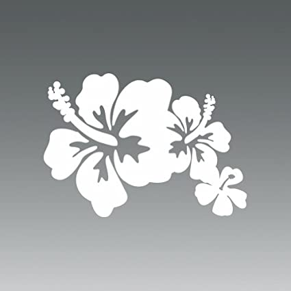 Amazon hibiscus flowers hawaii white sticker decal hibiscus flowers hawaii white sticker decal die cut vinyl mightylinksfo