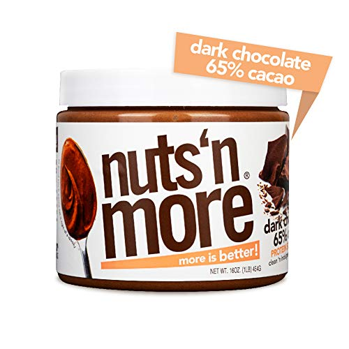Nuts N More Dark Chocolate Peanut Butter Spread, High Protein Nut Butter Snack, Low Carb, Low Sugar, Gluten Free, All Natural, 16 oz Jar