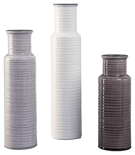 Ashley Furniture Signature Design - Deus Vase - Set of 3 - Casual - Glazed Ceramic - Gray/White/Brown (Trio Vases)