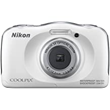 Nikon COOLPIX S33 13.2MP Waterproof Shockproof Freezeproof Digital Camera White Bundle - Includes Camera, Compact Deluxe Gadget Bag, 16GB Secure Digital SD Memory Card, Cleaning Kit and Cleaning Cloth