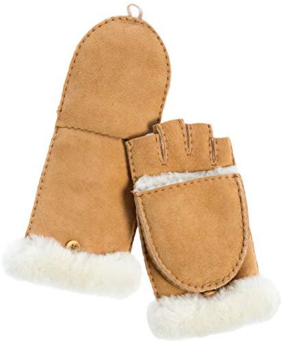Women's Carob Spanish Sheepskin Fingerless Gloves with Mitten Flap