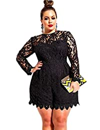 EkarLam® Womens Long Sleeve Sexy Lace Outsize Party Romper Jumpsuit Shorts