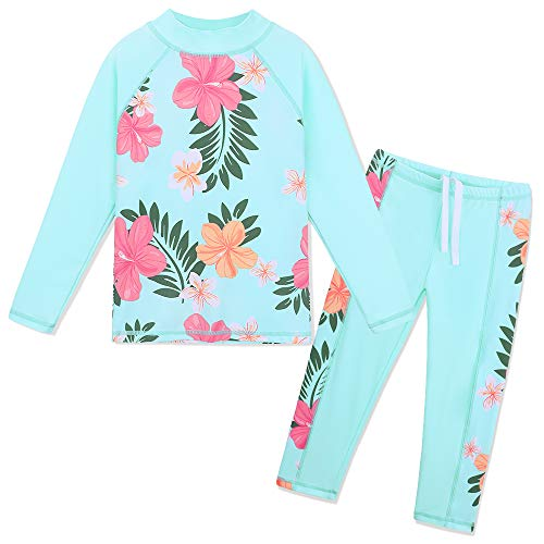 TFJH E Swimsuits for Girls Long Sleeve Rash Guard Suits 2-Pieces Children Sunsuits Beach wear Aqua, Cyan Flower ()