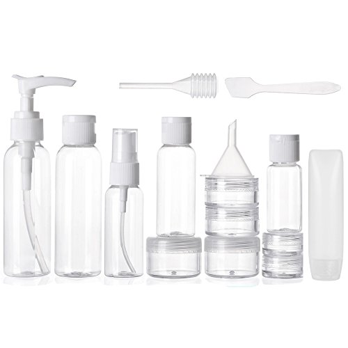 Alink 16pcs Travel Size Toiletry Bottles Set, TSA Approved Clear Cosmetic Makeup Liquid Containers with Zipper (Spa Bottles Set)