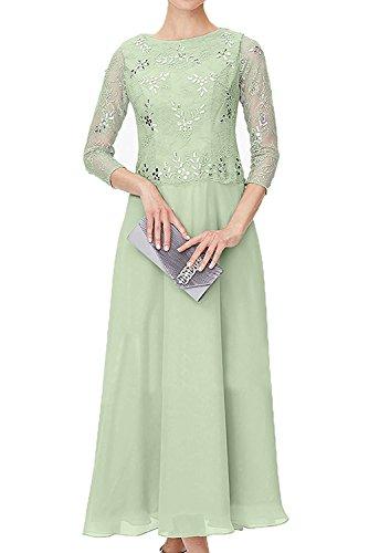 mit Promkleider Ballkleider Langarm Braut Steine Salbei Abendkleider Spitze mia La Abschlussballkleider Blau Herrlich Damen Festlichkleider n4qw47T0