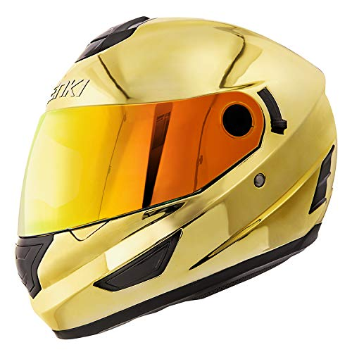 NENKI Helmets NK-852 Full Face Motorcycle Helmets Dot Approved With Dual Visors (Small, Chrome Gold)