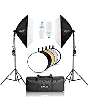 """EMART Softbox Lighting Kit with Reflector, 24""""x24"""" 1000W Photography Soft Box Continuous Light Set with Photo Studio Bulbs, Professional Camera Light Equipment for Video Recording, Filming, Podcast"""