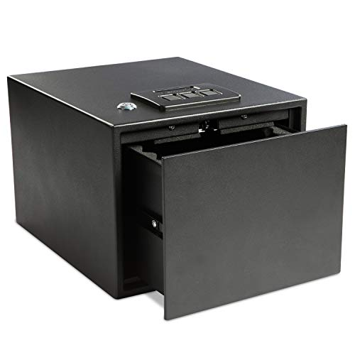Ivation Quick Access Pistol Drawer Safe - Protect and Secure Storage Features Spring-Loaded Drawer for Instant Access to Your Weapons, Money, Cash and Jewelry