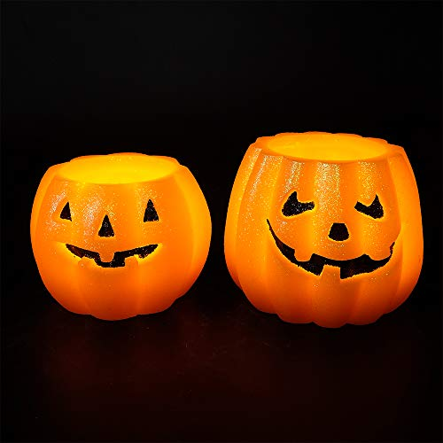 Wondise LED Flameless Flickering Halloween Pumpkin Candles with 6 Hour Timer, 2 AAA Batteries Operated Jack O Lantern Home Decoration Real Wax Candles Set of 2 -