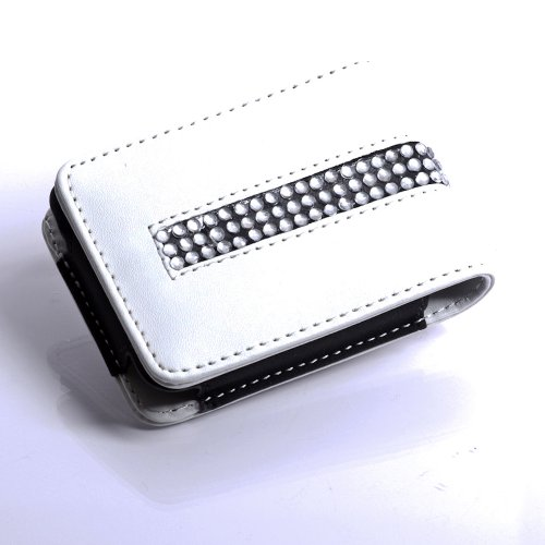Ipod Nano 3g Leather - Jeweled Bling Magnetic Leather Flip Case for Ipod Nano 3g 3