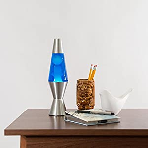 Lava Lite 1953 Silver Base Lamp with White Wax in Blue Liquid, 11.5″, White Wax/Blue Liquid/Silver Base