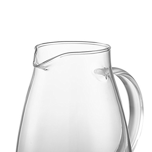 JIAQI 68 Ounces Glass Pitcher with Stainless Steel Lid, Hot/Cold Water Jug, Juice and Iced Tea Beverage Carafe by JIAQI (Image #4)