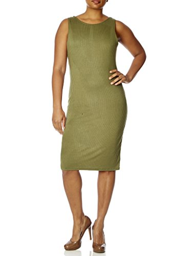 [[77815XR-OLV-2X] Love Collection Dress, Junior Plus Size, Ribbed, Open Back with Criss Cross Straps] (70s Look For Women)