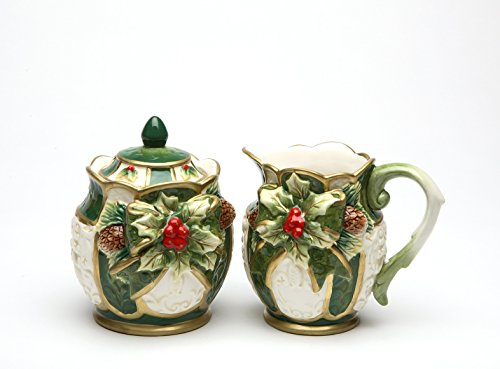 Cosmos Gifts 10303 Fine Ceramic Emerald Green Holiday Holly with Red Berry and Pine Cone Sugar and Creamer Set, 4 3/8