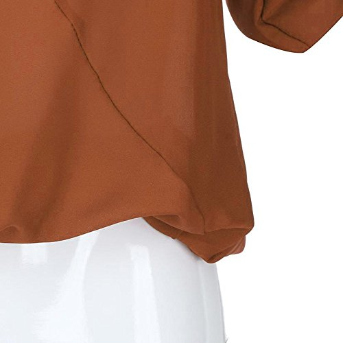 Femme Longue Tops Femme Solide Weant Taille Orange Femme Blouses Manche V Col Casual Shirt Chemise et Shirt Tee Blouse Couleur Blouse Grande Chemisiers AnxYfqn