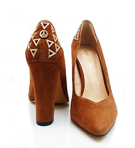 24a4e2895196 Mifani-Dark Brown Block Heels Size  6  Amazon.co.uk  Shoes   Bags