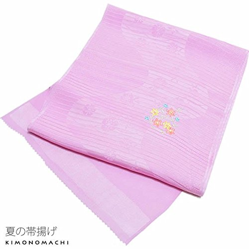 [ 京都きもの町 ] 夏用 正絹帯揚げ パープル お花刺繍 絽 和装小物 夏帯揚げ 洒落小物