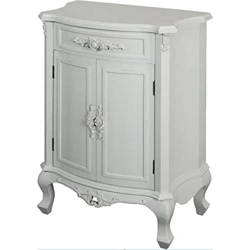 Antique French Bedroom Furniture White Shabby Chic Cupboard Small Sideboard  Drawer Doors Vintage Style Solid Wood