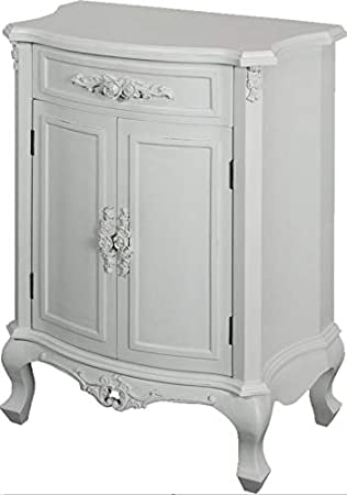 Antique French Bedroom Furniture White Shabby Chic Cupboard Small Sideboard  Drawer Doors Vintage Style Solid Wood Storage Unit Bedside Table Telephone  ...
