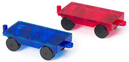 Playmags 2 Piece Car Set: Now with Stronger Magnets, Sturdy, Super Durable with Vivid Clear Color Tiles. (Colors May Vary) ()