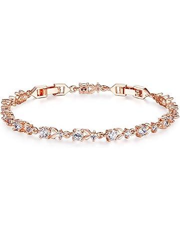 ea62ef820 Bamoer Luxury Slender Rose Gold Plated Bracelet with Sparkling 5 Style  Cubic Zirconia Stones to Choice