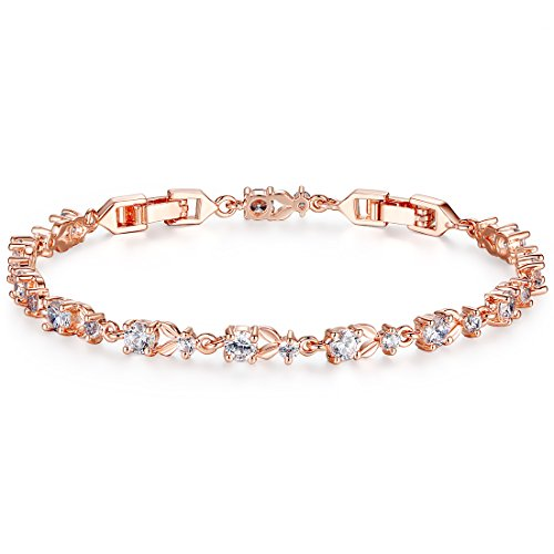 Bamoer Luxury Rose Gold Bracelets with Sparkling Clear Cubic Zirconia CZ Crystal Women Girls Charms Bangle (Gold Gold Plated Rose Bracelet)