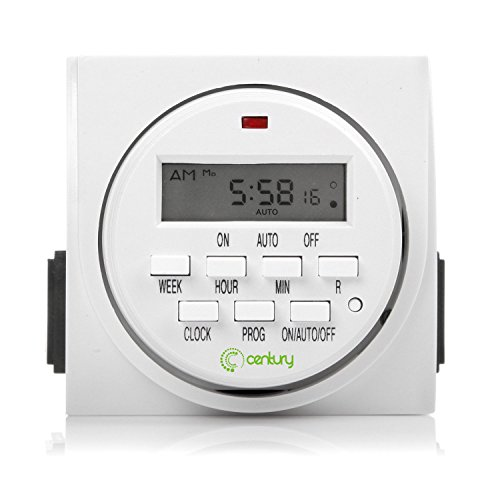 Century 7 Day Heavy Duty Digital Programmable Timer - Dual Outlet (Single Control) (Outlet La)