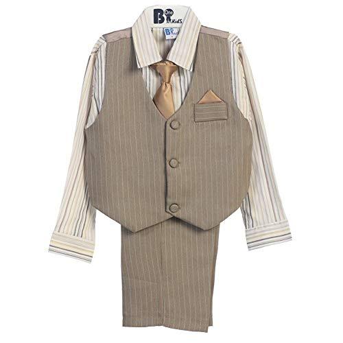 B-One Four Piece Off White Shirt Grey Khaki Baby Boys Vest Set 9-12M