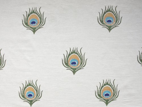 Dance O Peacock ~ Ivory Peacock Feather Elegant Round Tablecloth 70 Round