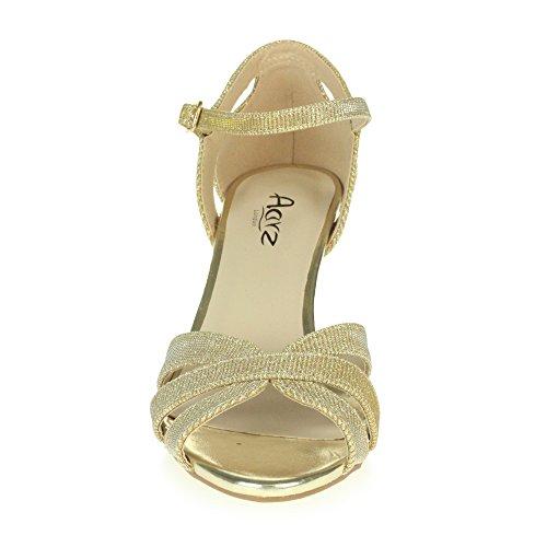 Reluciente Alto Plataforma Sandalias Oro Fiesta Tamaño Nupcial Zapatos Noche Boda Señoras Mujer Paseo Tacón 5Anagzx