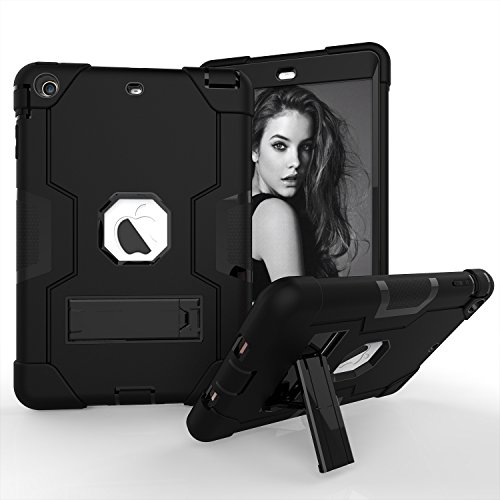 iPad Mini Case, iPad Mini 2 Case, iPad Mini 3 Case,Beimu 3in1 Hybrid Shock Absorbing Defender Rugged Silicone Hard Case Full Body Protective Cover with Stand for Apple iPad Mini 1/2/3
