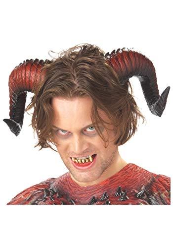 Demon Ram Horns Costumes - California Costumes Men's Demon Horns W/Teeth,Red,One