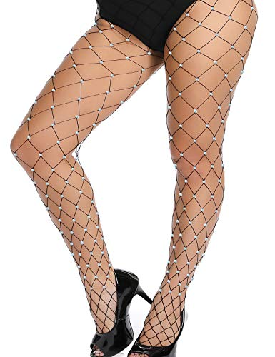 akiido High Waist Tights Fishnet Stockings Thigh High Stockings Pantyhose (6 Pack Of Fishnet Fashion Tights Black)