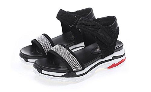 de Aire de al Sandalias Negro Señoras Deportivos Zapatos caseros Mujeres Las Libre DANDANJIE de Zapatos Punta Viajes Abierta Sandalias Cómodo Sandalias Verano 5wXnaTaAqx