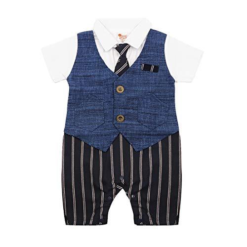 (Simplee Kids Baby Boy Gentleman Stripe Shirt Waistcoat with Tie Tuxedo Jumpsuit Onesies Baby Formal Wear (Stripe 12-18))