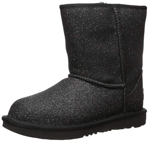UGG Girls' Classic Short II Glitter Fashion Boot, Black, 9 M US Toddler (Classic Black Ugg Boots Short)