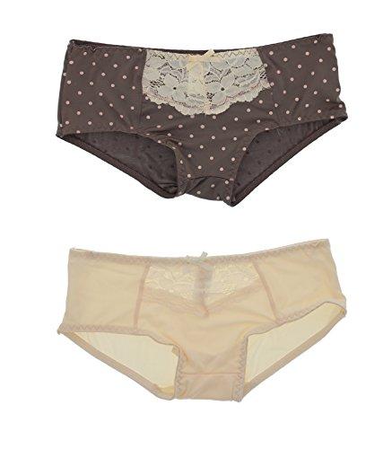 Kathy Ireland Women's Microfiber Lace Boy Short Panties (2Pr) (Medium, Grey & Cream Polka Dots) (Dots Spandex Panties Polka)
