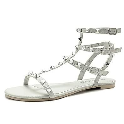SANDALUP Rivets Studs Flat Sandals w Double Metal Buckle for Women's Summer Dress Shoes Size: 5