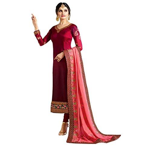 - Pink Georgette Embroidered Churidar Straight Salwar Suit with Pure Banarasi Silk Dupatta (Large)
