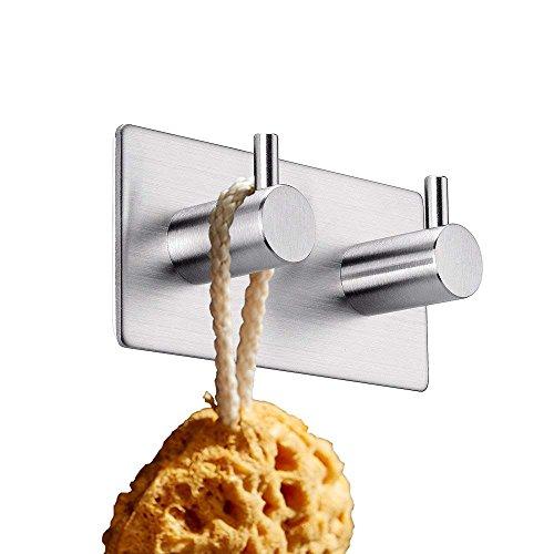 RYOZOCH Modern 3M Self Adhesive Hooks Stainless Steel Towel Robe Coat Cloth Bag Key Holder Hanger Heavy Duty Waterproof Wall Mounted Kitchen Bathroom Shower Accessories (Chrome, 2 Hooks)