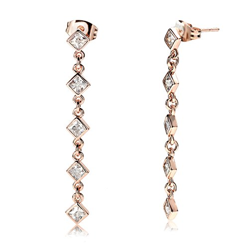 Paragon Decó Cubic Zirconia-Rose Gold Platedb Drop Earrings-Bridal Gift