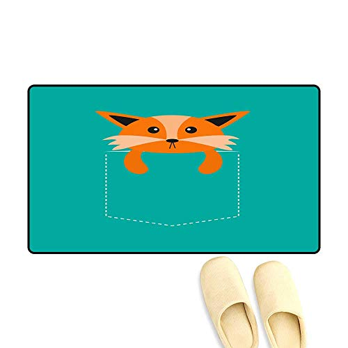 High Water Absorption Door mat Fox in The Pocket Cute Cartoon Character Dash line Forest Animal Collection Tshirt Design Green backgrounIsolateFlat ()